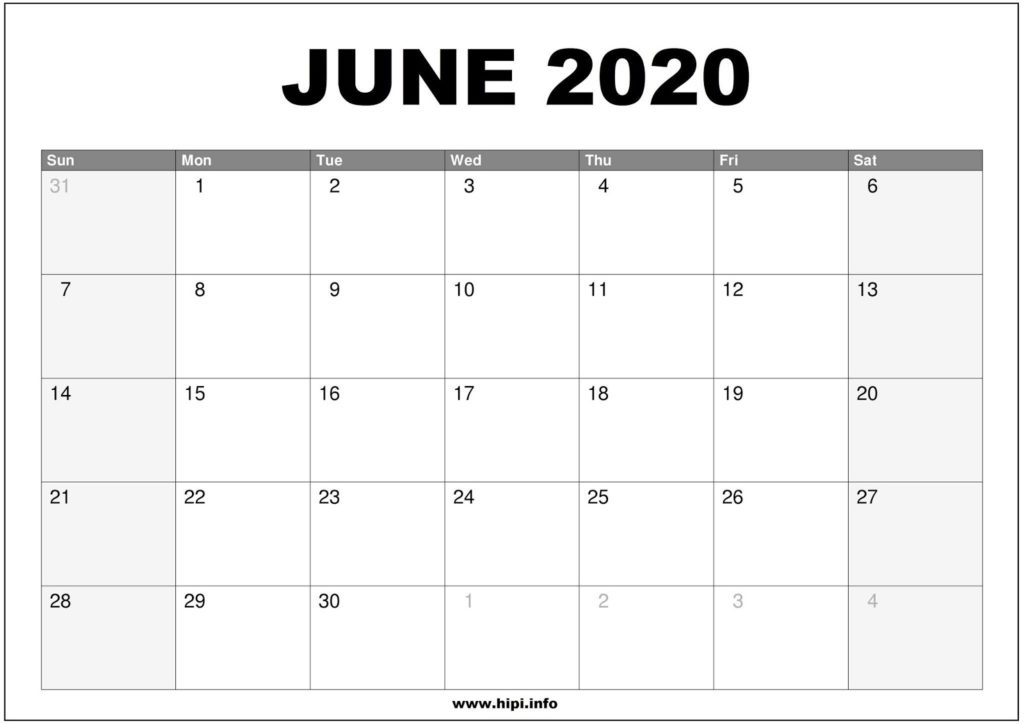 June 2020 Calendar Printable - Monthly Calendar Free Download