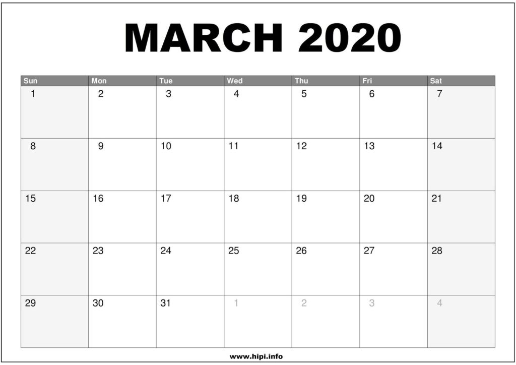 March 2020 Calendar Printable - Monthly Calendar Free Download