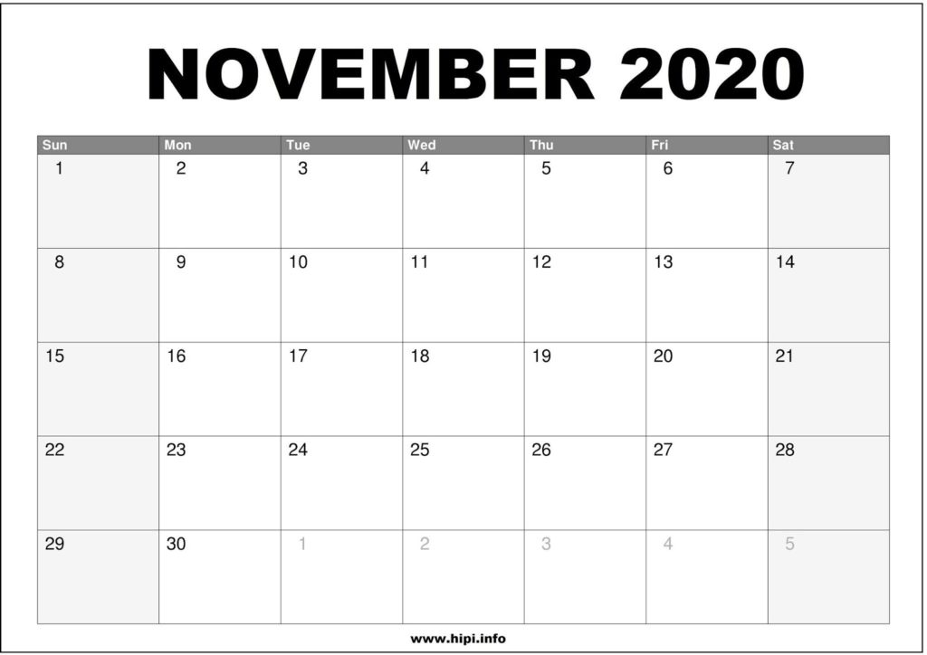 November 2020 Calendar Printable - Monthly Calendar Free Download