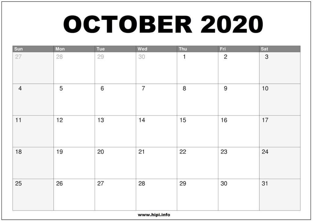 October 2020 Calendar Printable - Monthly Calendar Free Download