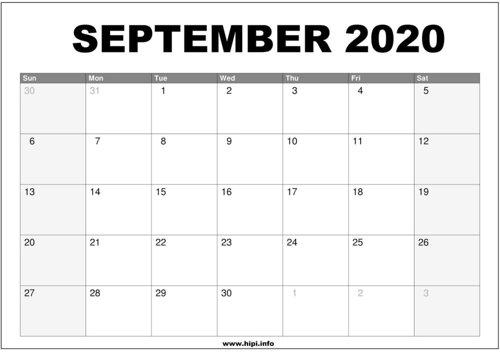 September 2020 Calendar Printable - Monthly Calendar Free Download
