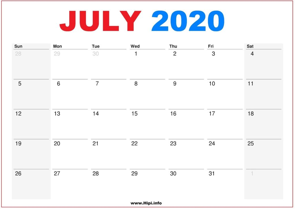 2020 Calendar Printable Monthly July - Calendar Free Download
