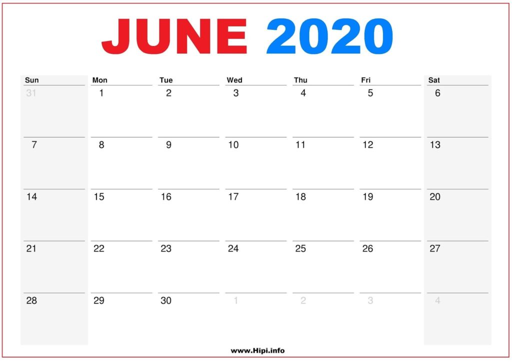 2020 Calendar Printable Monthly June- Calendar Free Download