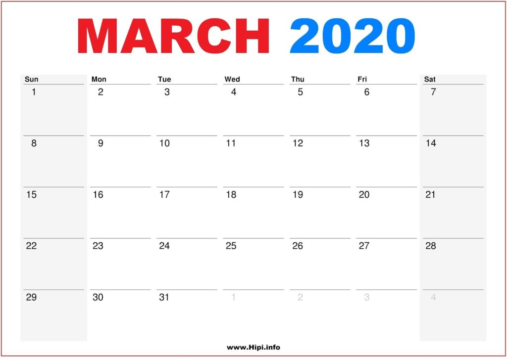 2020 Calendar Printable Monthly March - Calendar Free Download
