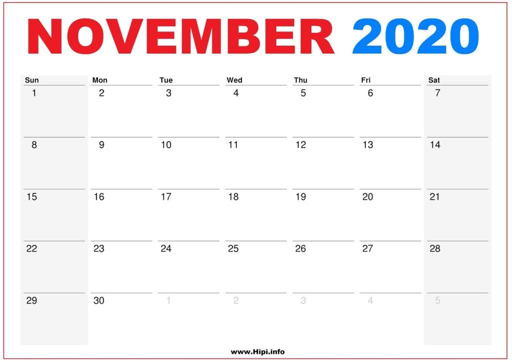 2020 Calendar Printable Monthly November - Calendar Free Download