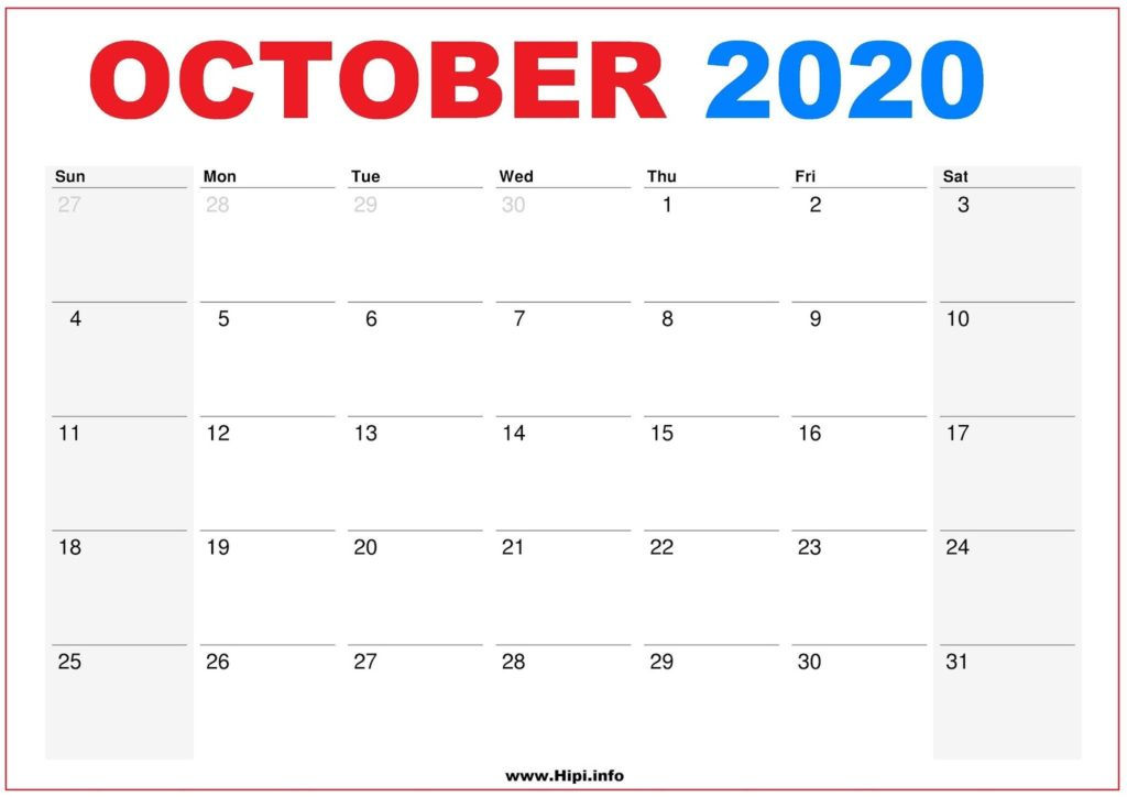 2020 Calendar Printable Monthly October - Calendar Free Download