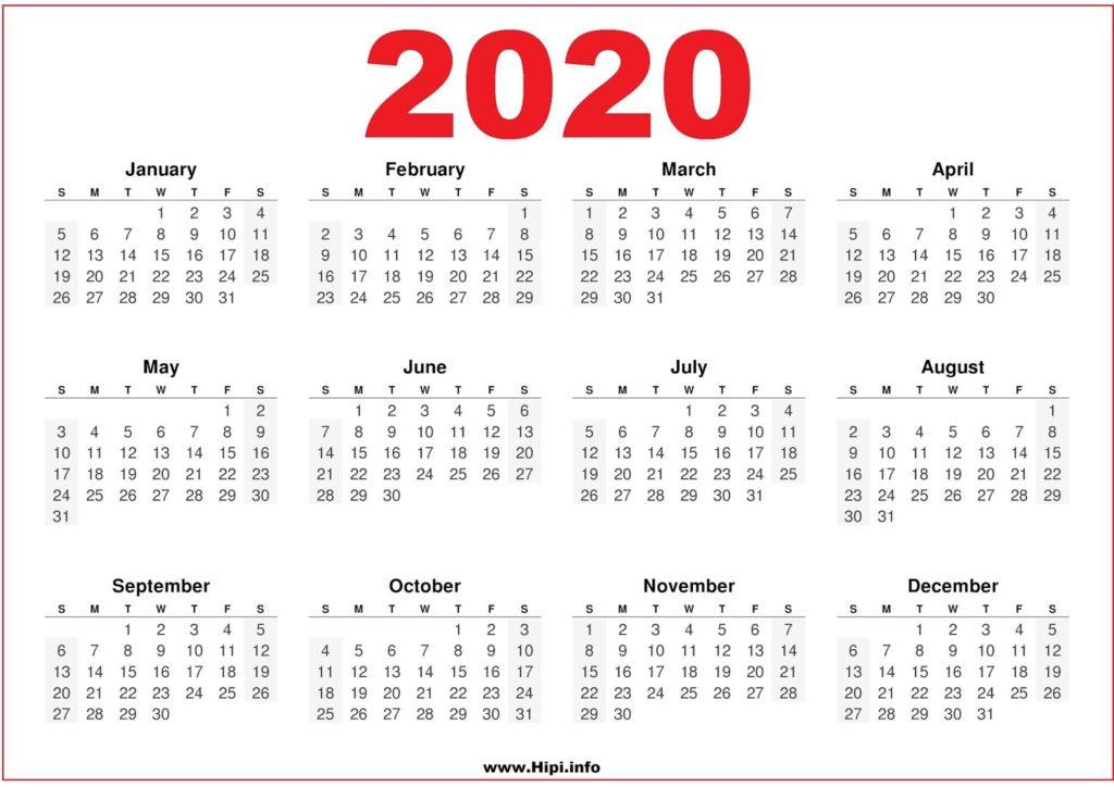 2020 Calendar Printable Free Pdf Free Download Pdf Hipi Info
