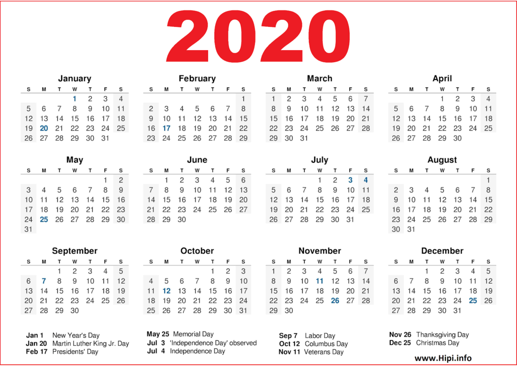 2020 Calendar Printable with US Holidays - 2020 Calendar Template