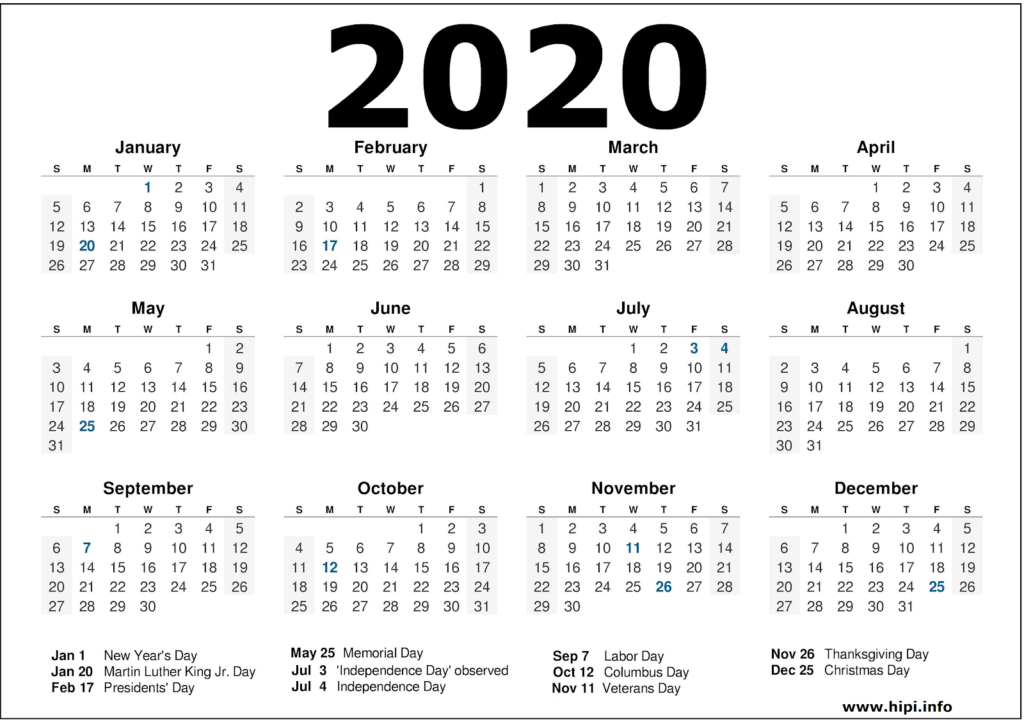 2020 Calendar Printable with Holidays - 2020 Calendar Template