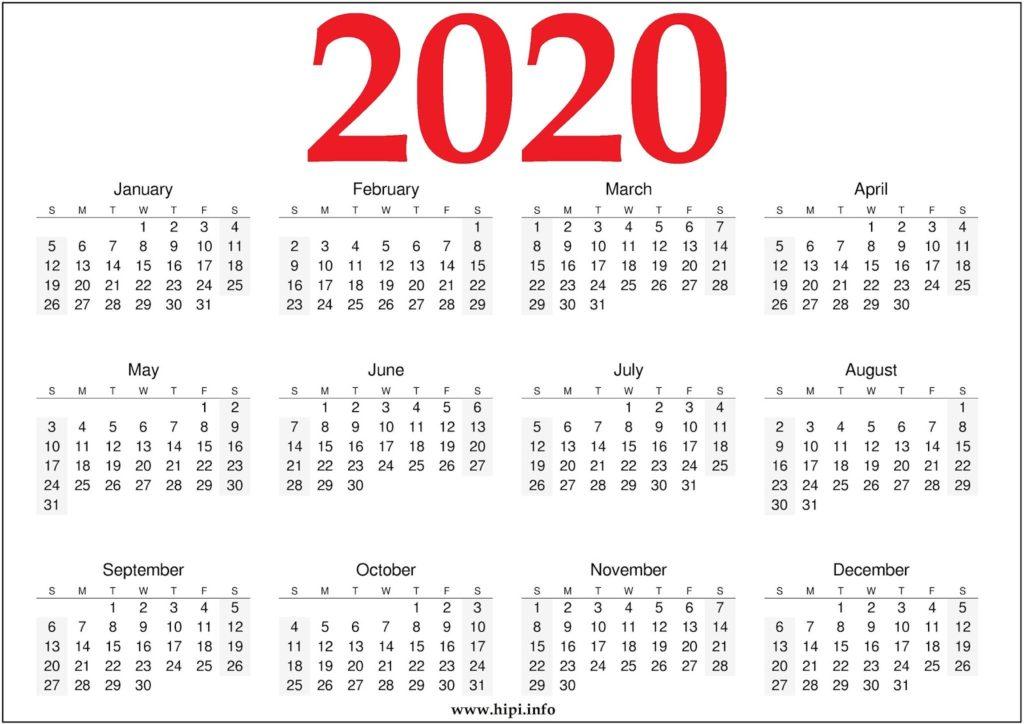 2020 Calendar Template Printable - 2020 Calendar Free Template