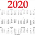 12 Month Printable Free 2020 Calendar- Red and Black