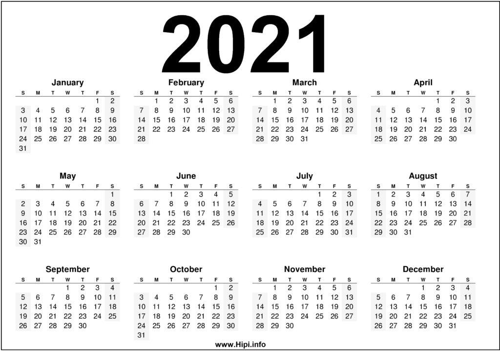 Free Printable Downloadable 2021 Calendars