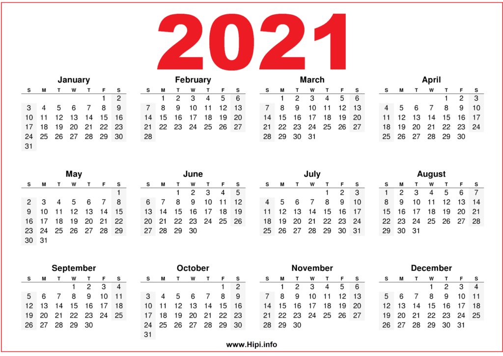Free Printable Downloadable 2021 Calendars - Hipi.info