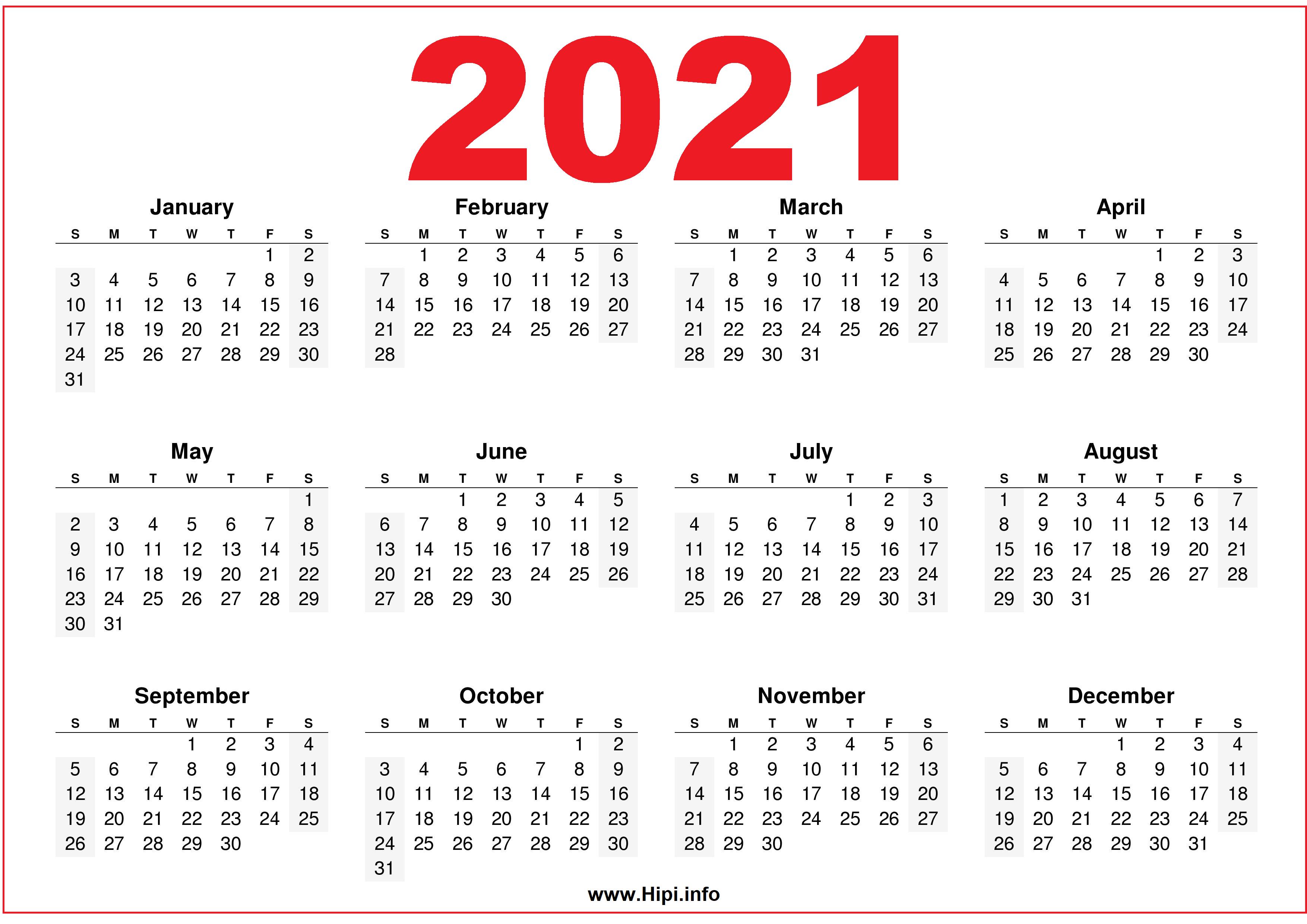 Free Printable Downloadable 2021 Calendars - Hipi.info