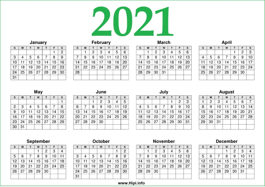 2021 Calendar Printable One Page Free – Free Download