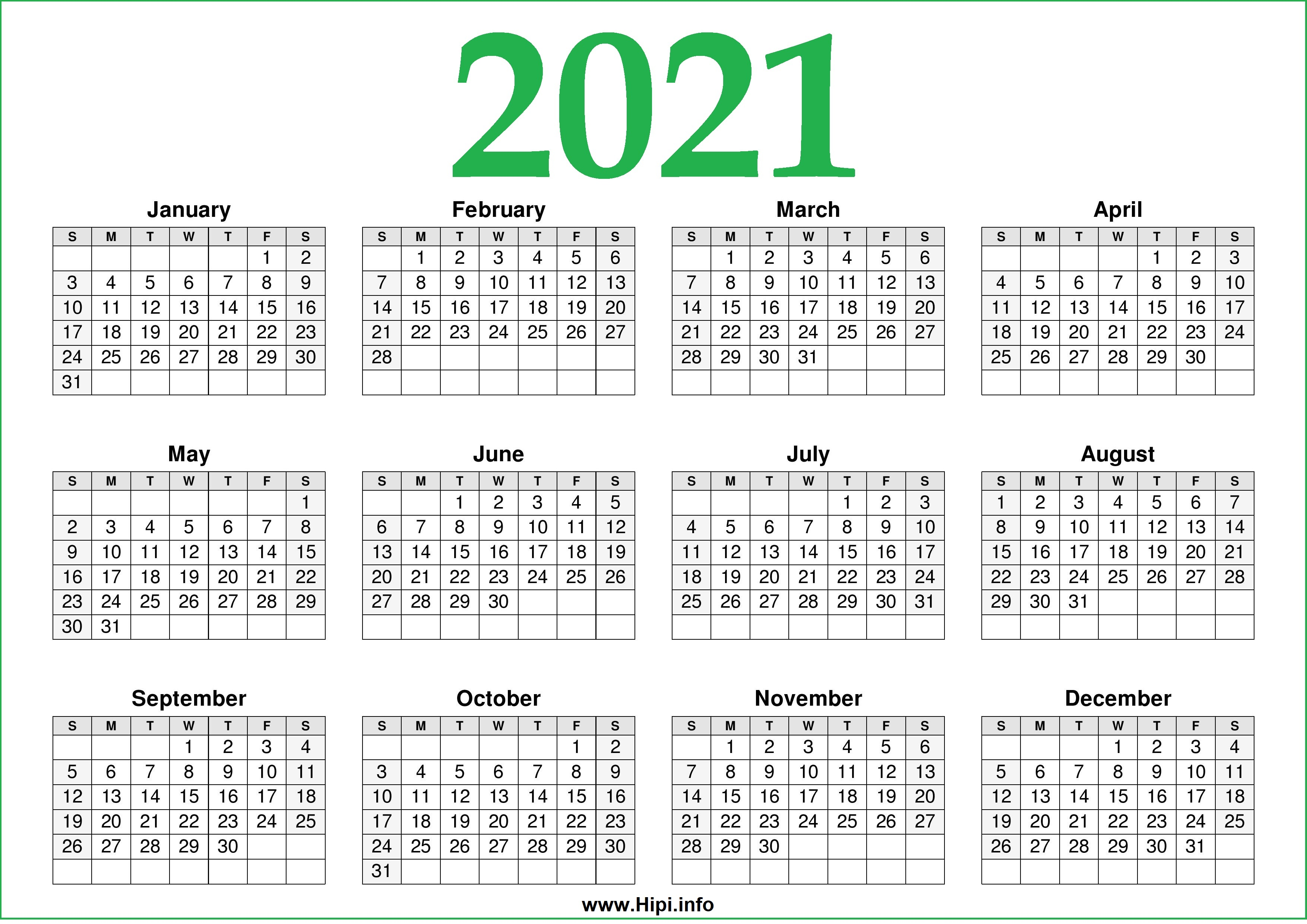 2021 Calendar Printable One Page Free - Free Download ...