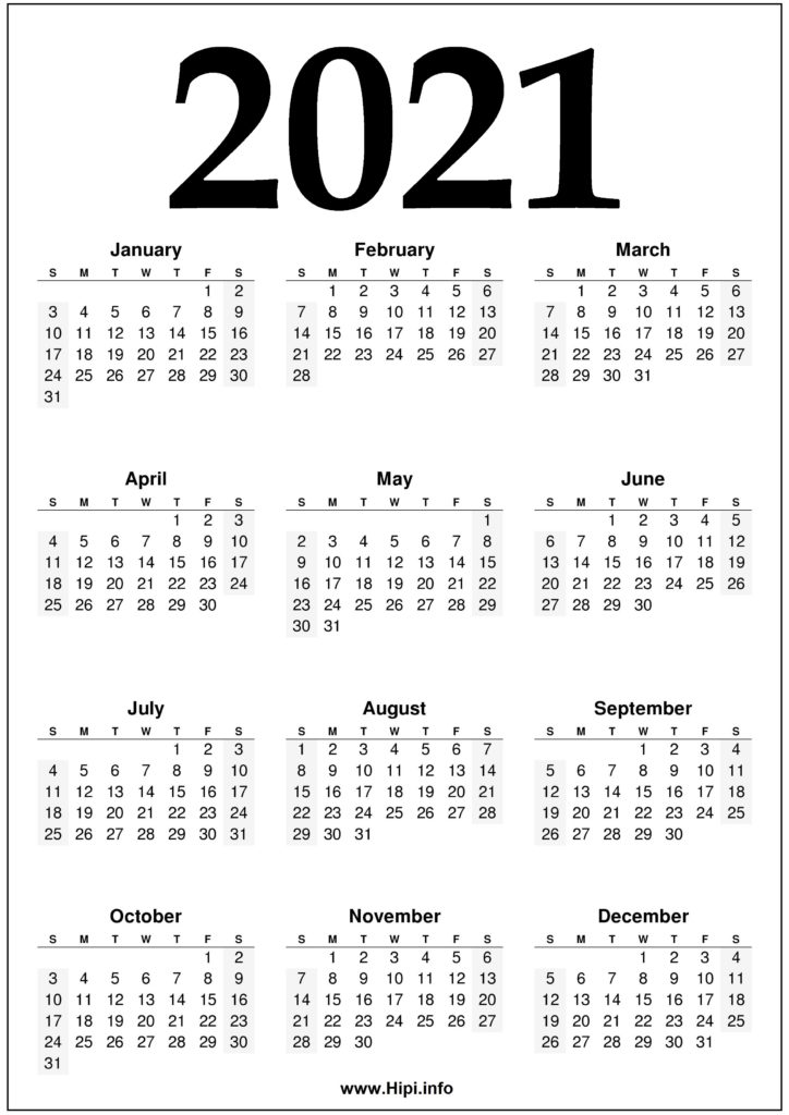 2021 Year 2021 Calendar Printable - Black And White