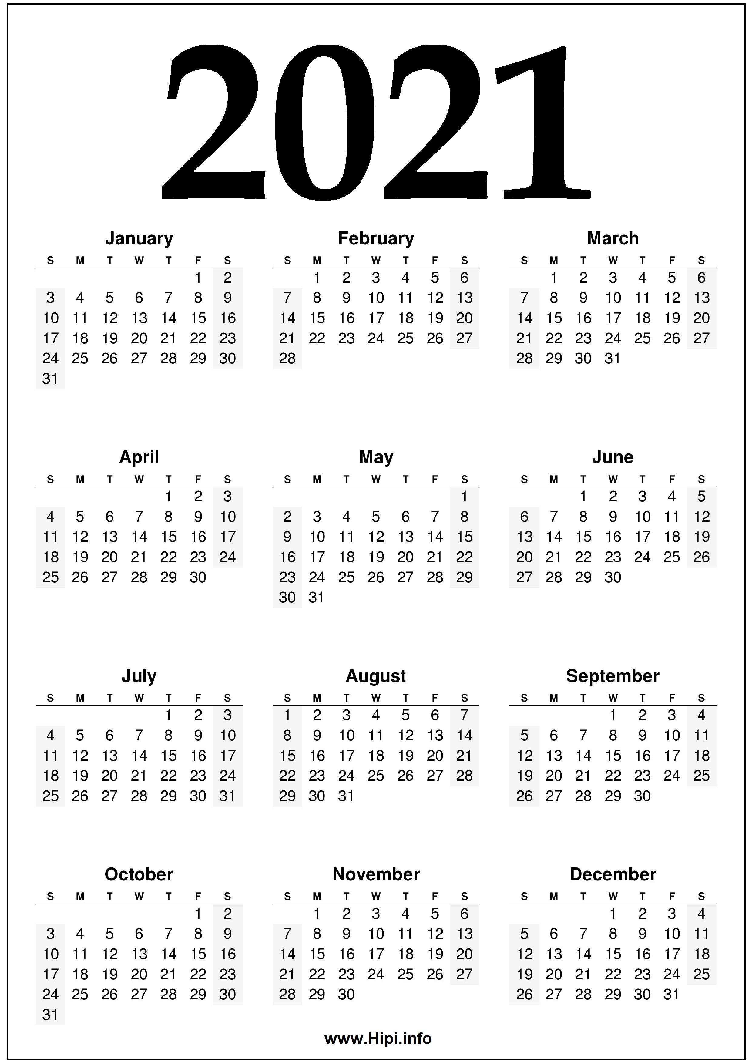 2021 Year 2021 Calendar Printable - Black And White - Hipi ...