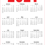 12 Month 2021 Calendar Printable - Red - Blue