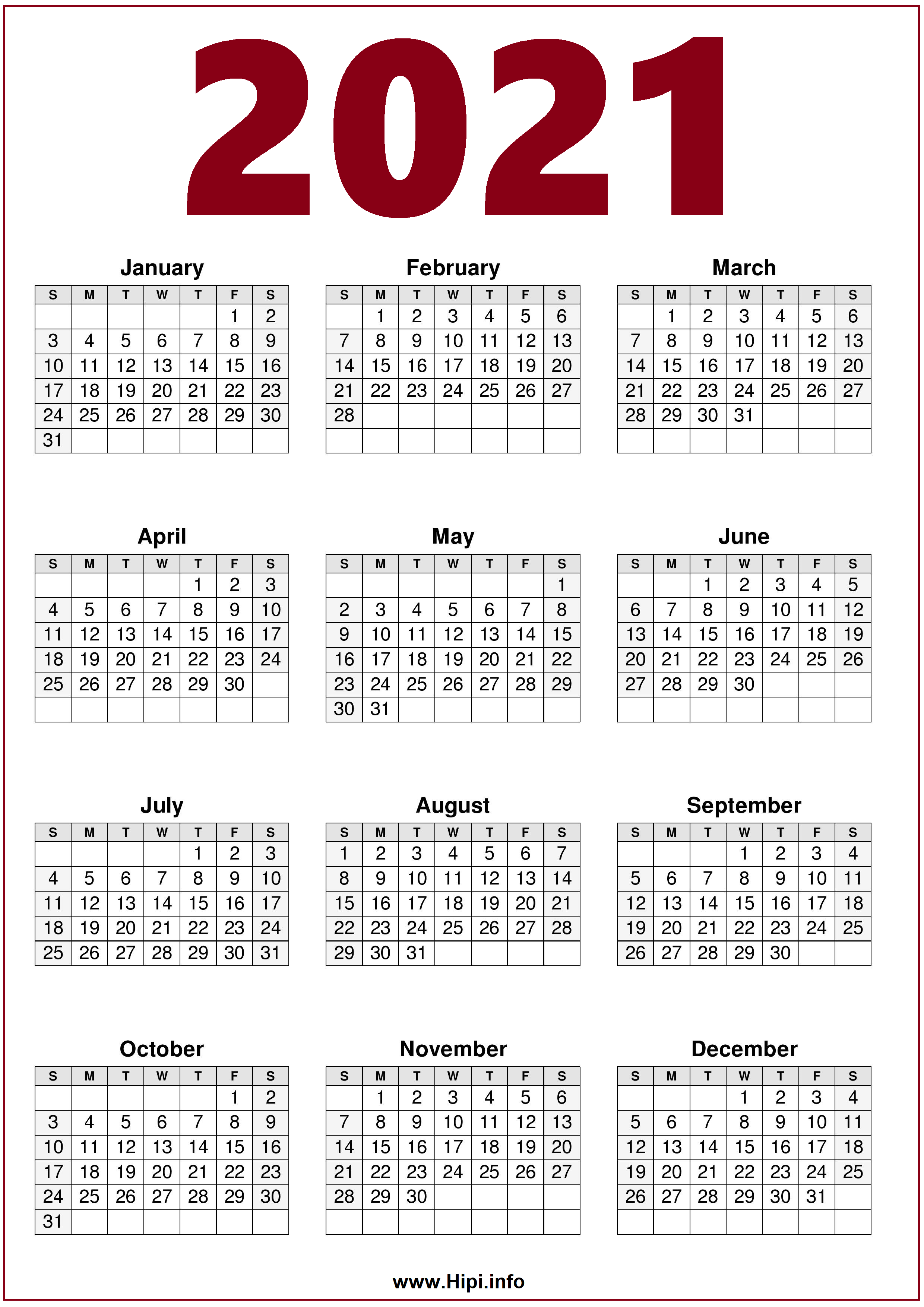2021 Calendar Printable One Page Free   Free Download   Hipi.info