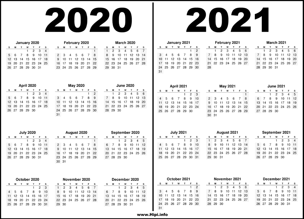 2020 - 2021 Two Year Calendars Black and White - Hipi.info