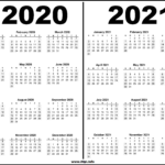 2020 - 2021 Two Year Calendars Black and White