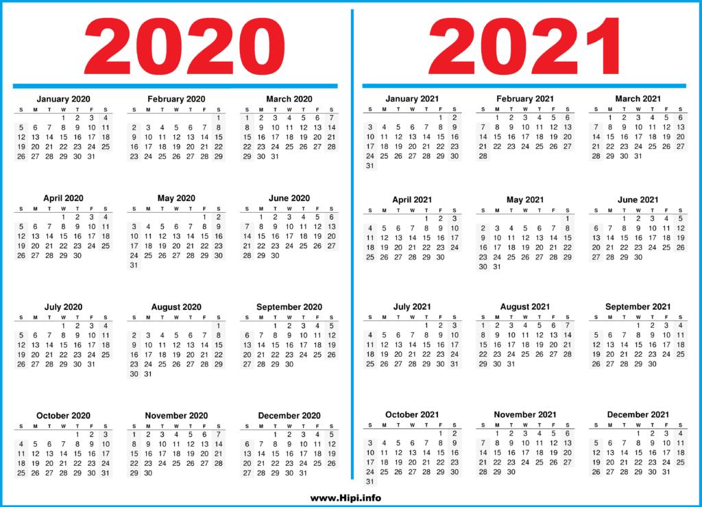 Printable 2 Year Calendar 2020 and 2021 - Hipi.info