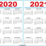 Printable 2 Year Calendar 2020 and 2021