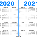 2 Year Printable Calendar 2020 and 2021