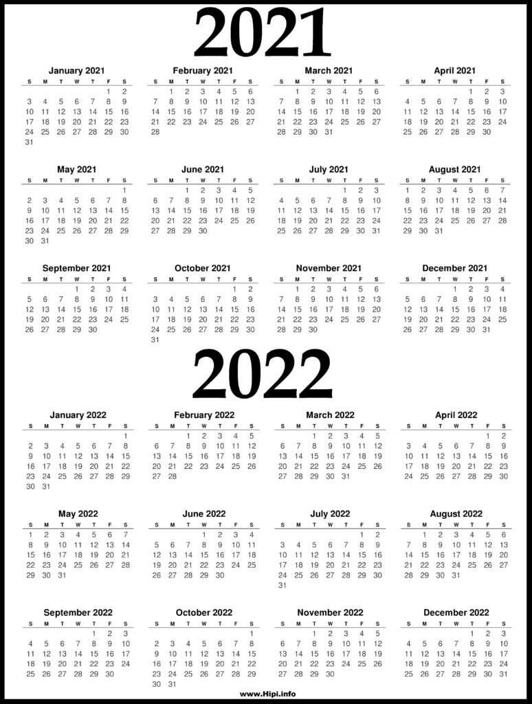 2021 and 2022 Printable Calendar - 2 Year Calendar