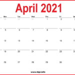 2021 April Calendar Printable – Monthly Calendar