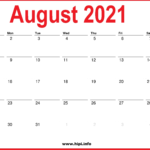 2021 August Calendar Printable – Monthly Calendar