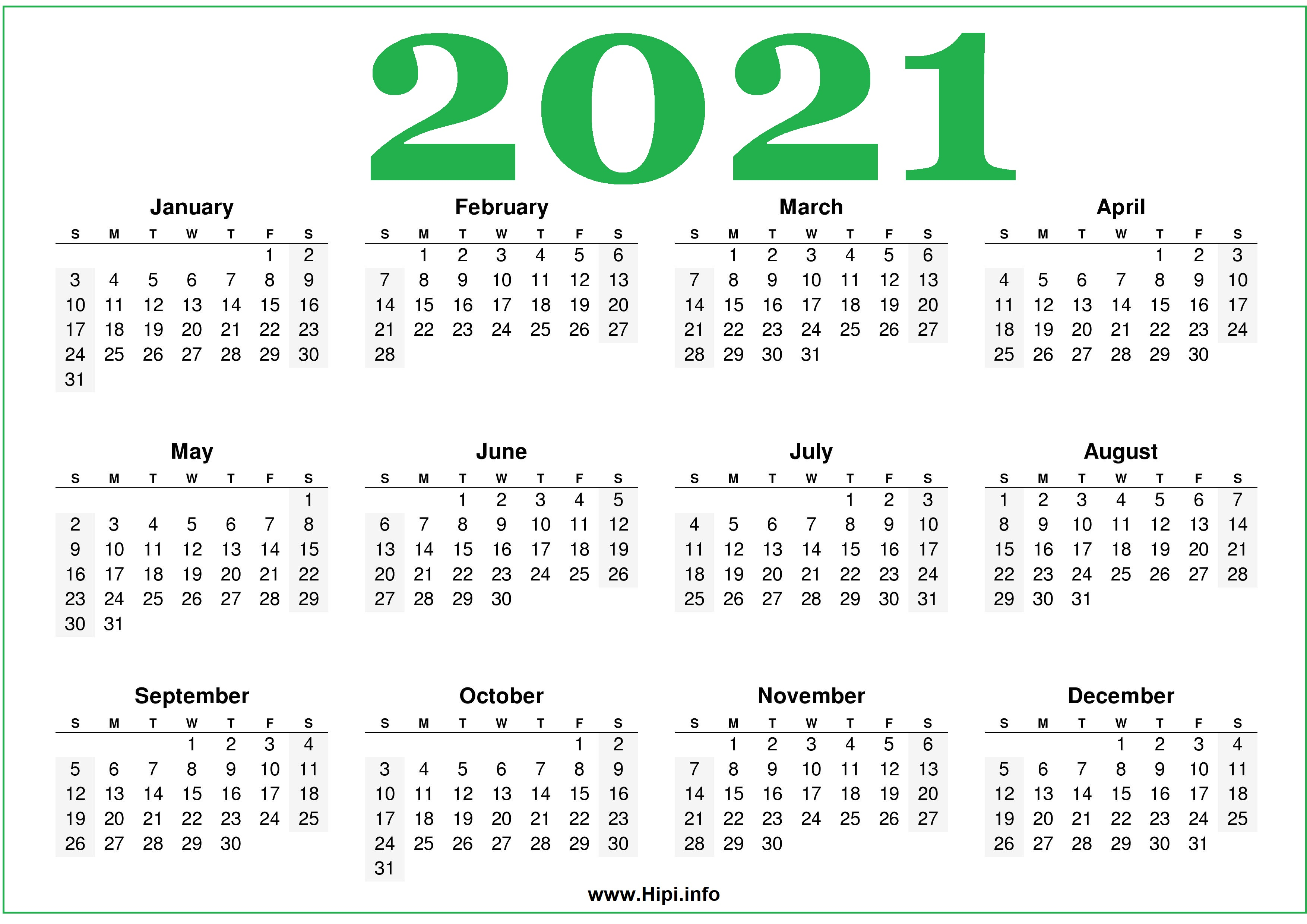 Free Printable 2021 Calendars Horizontal - Hipi.info