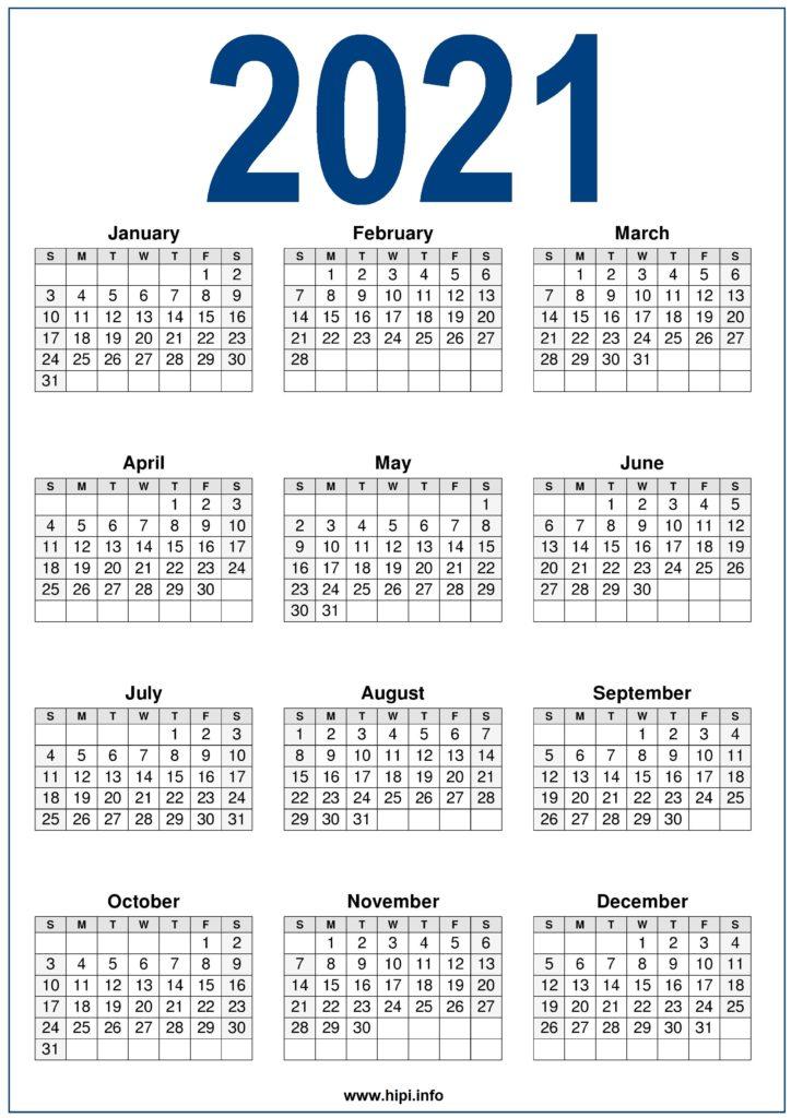 2021 Calendar Printable Free - Free Download - Hipi.info ...