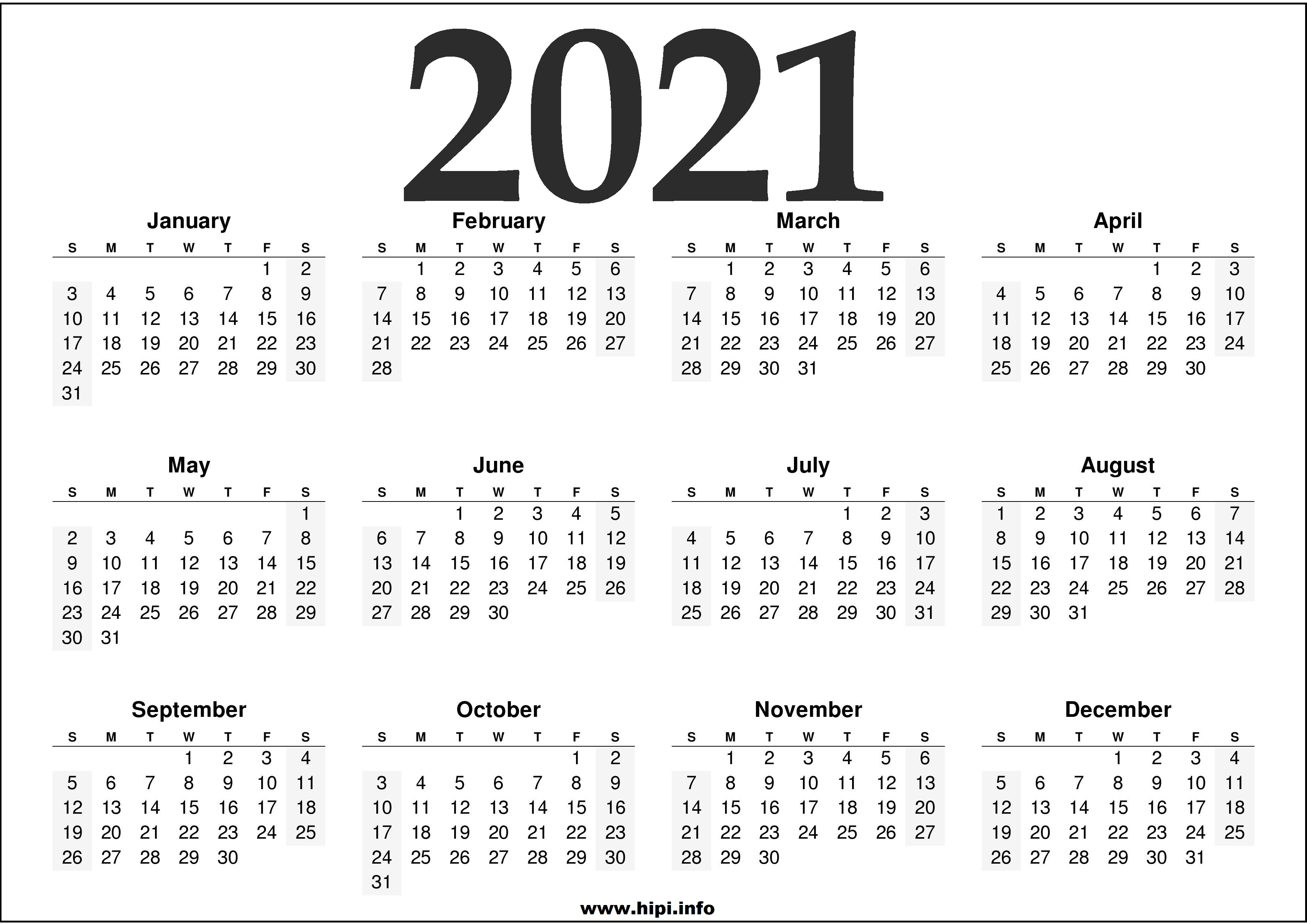 2021 Calendar Printable Free - Free Download - Hipi.info