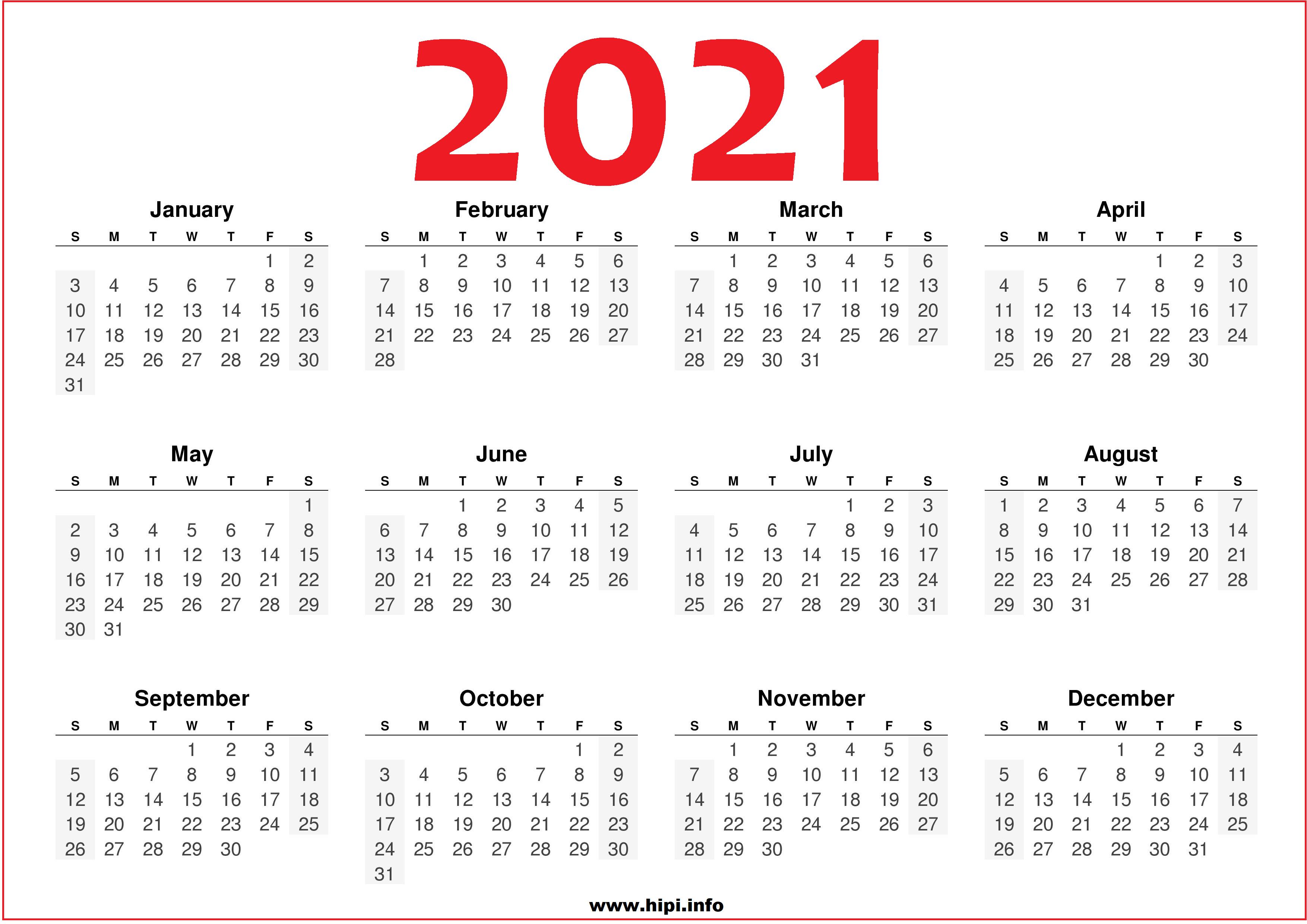 2021 Printable 12 Month Calendar Templates - Hipi.info