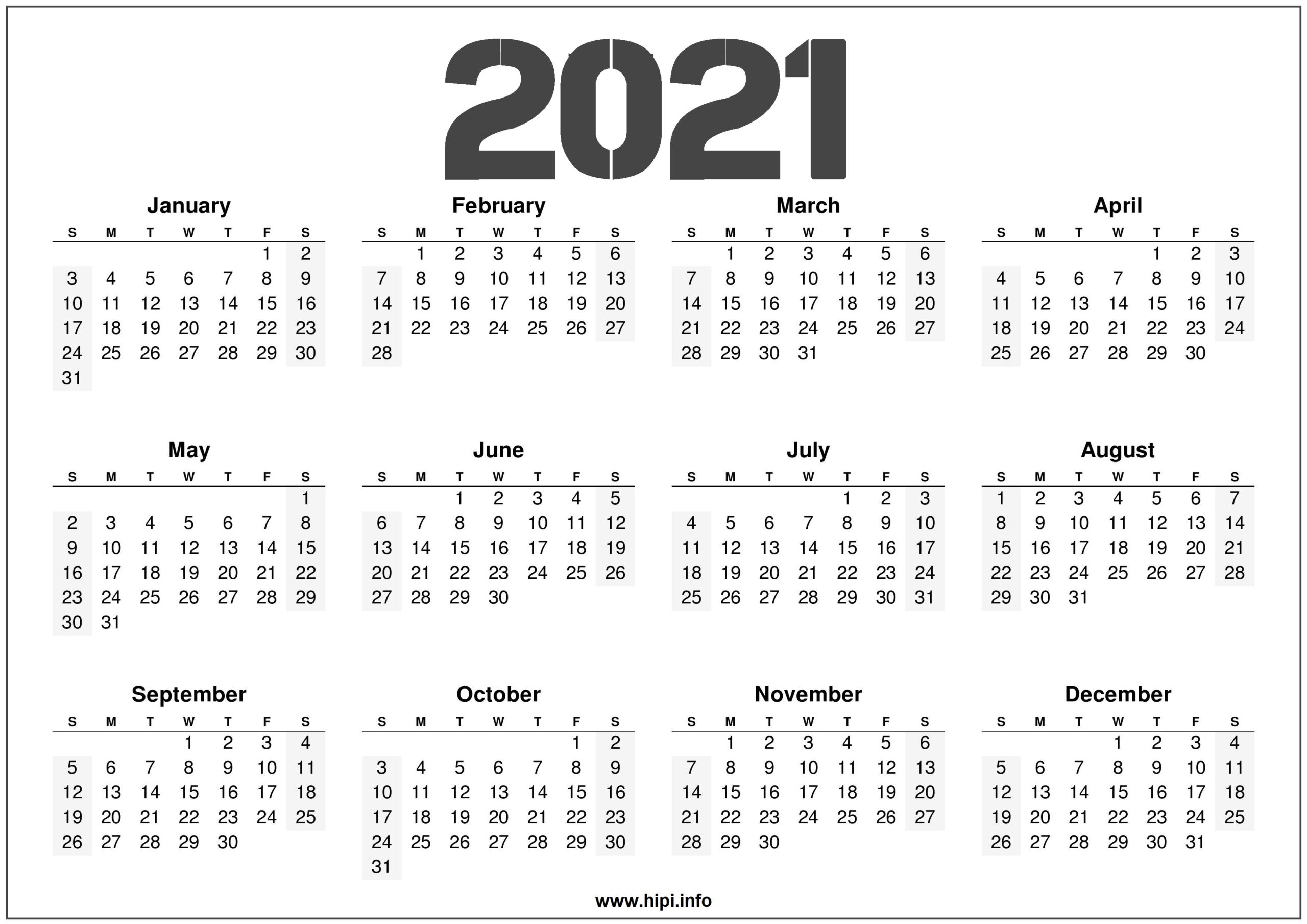 Month By Month 2021 Calendar | Christmas Day 2020