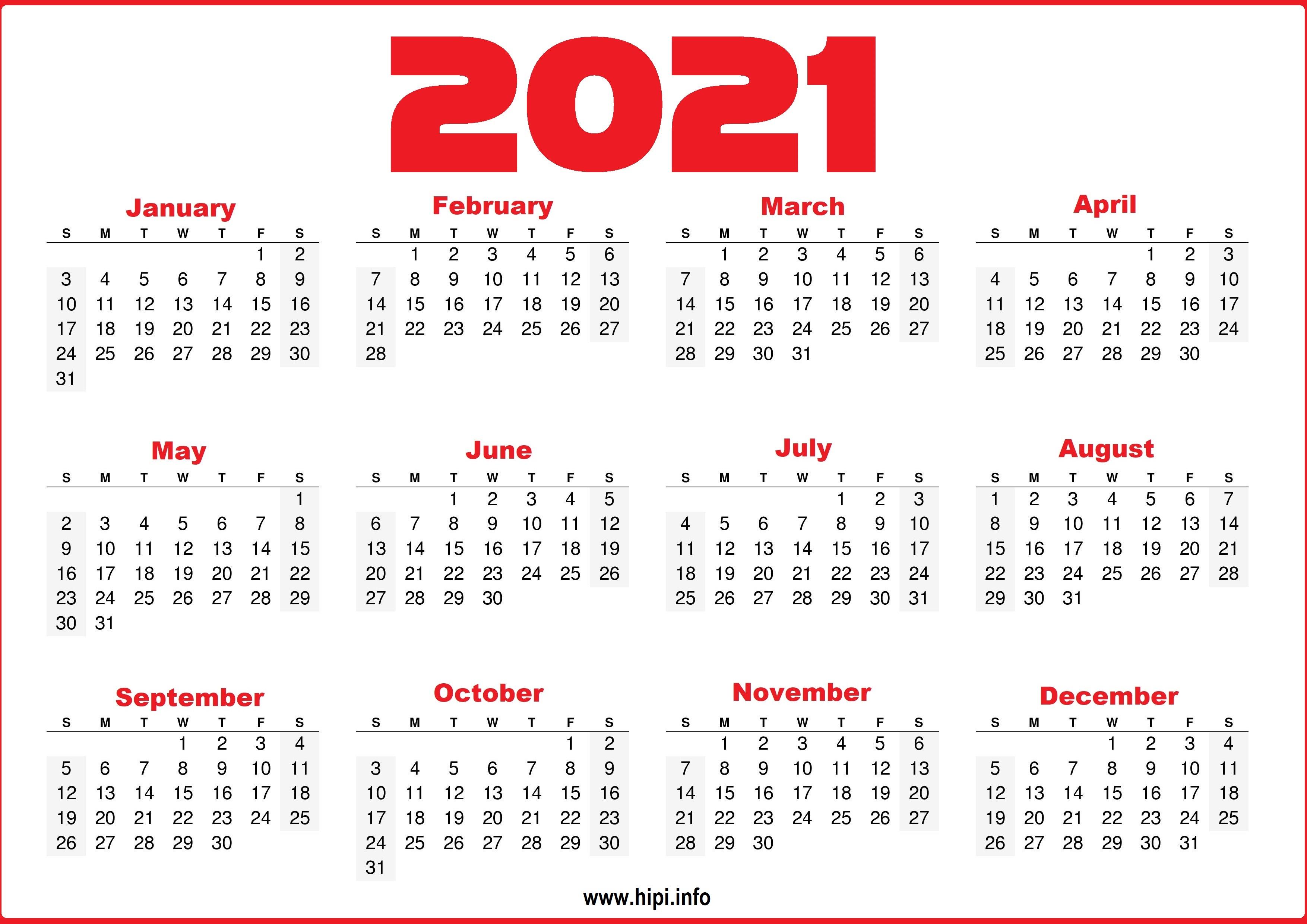 2021 Printable Yearly Calendar Free - Hipi.info