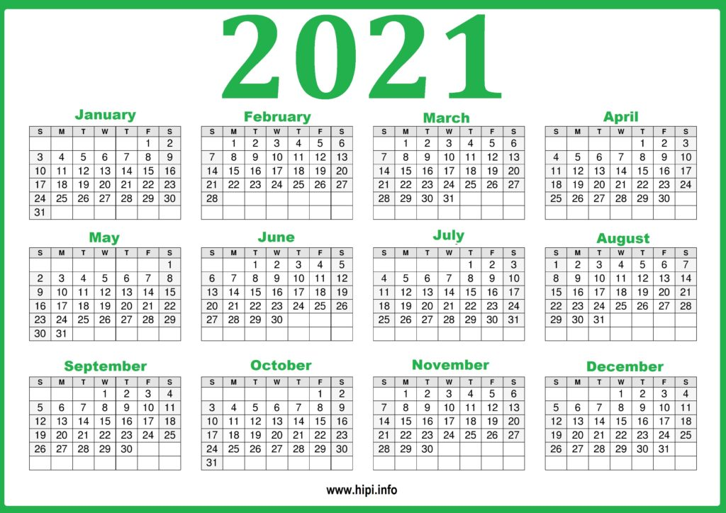 2021 Calendar Printable Yearly Template