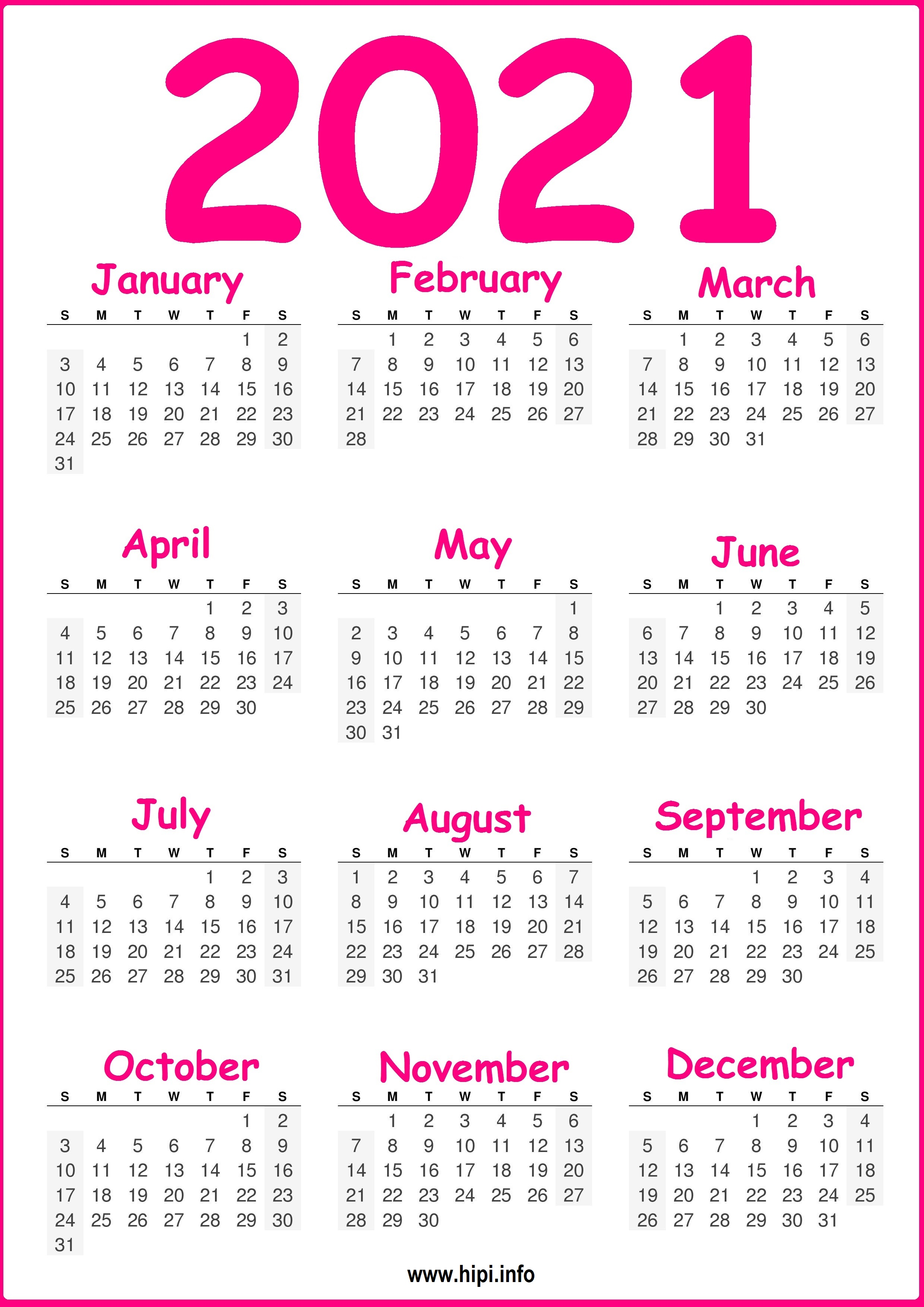 Free Printable 2021 Calendar, Pink and Green - Hipi.info