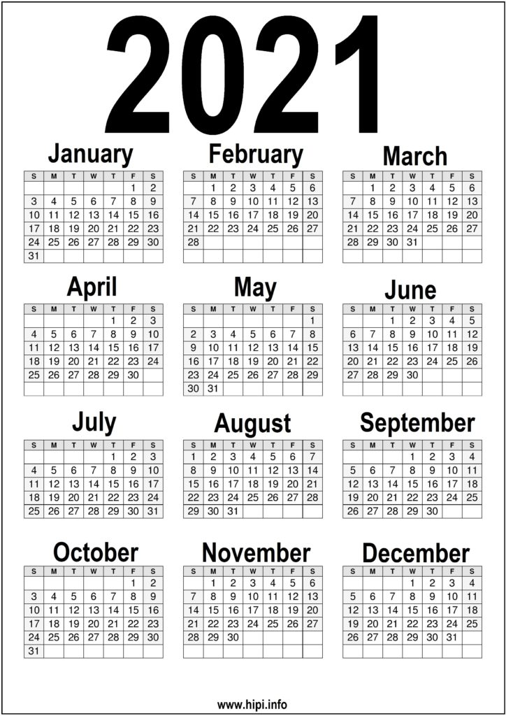 Black and white Printable 2021 Calendar