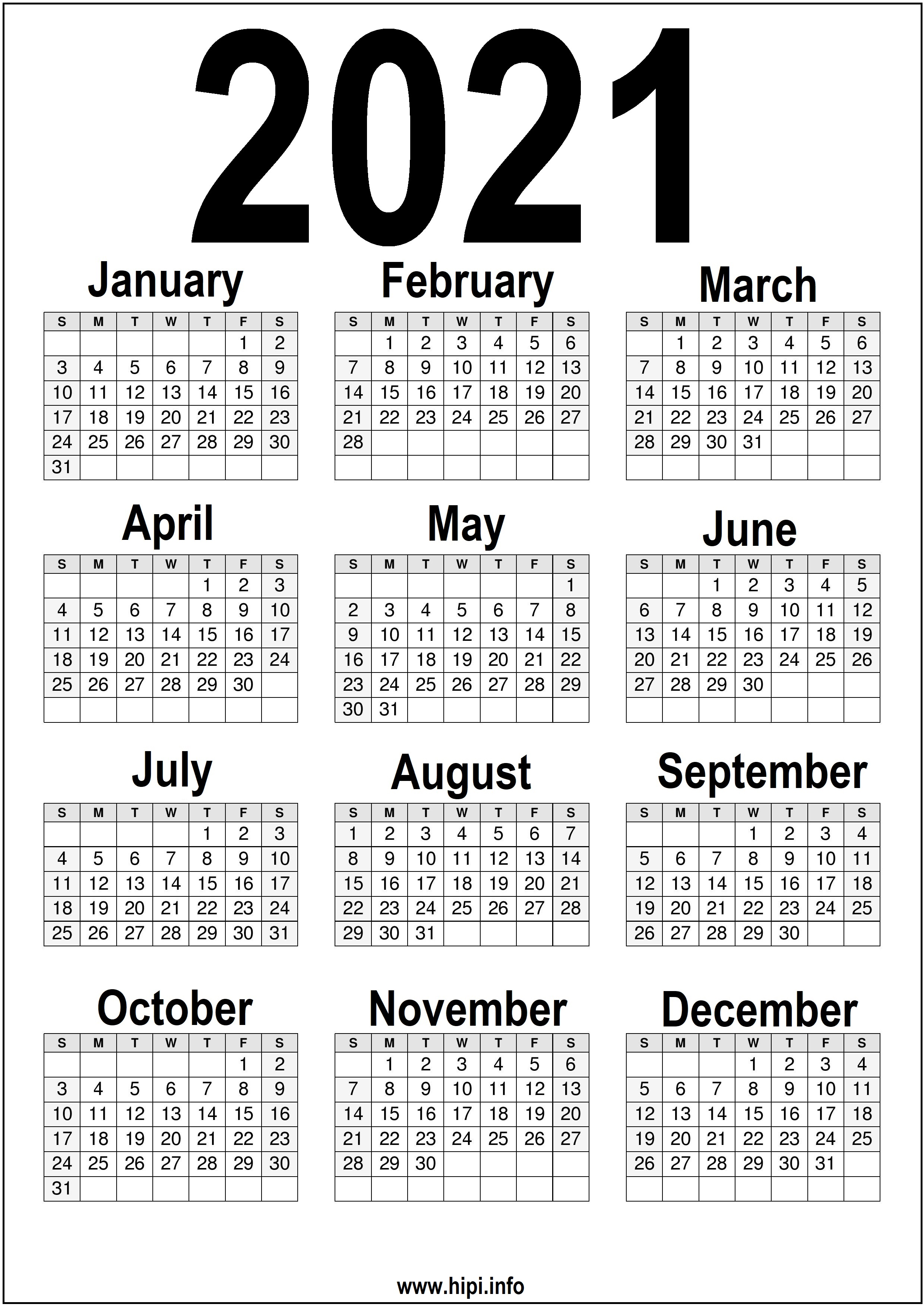 Black And White 2021 Calendar Printable | 2021 Calendar