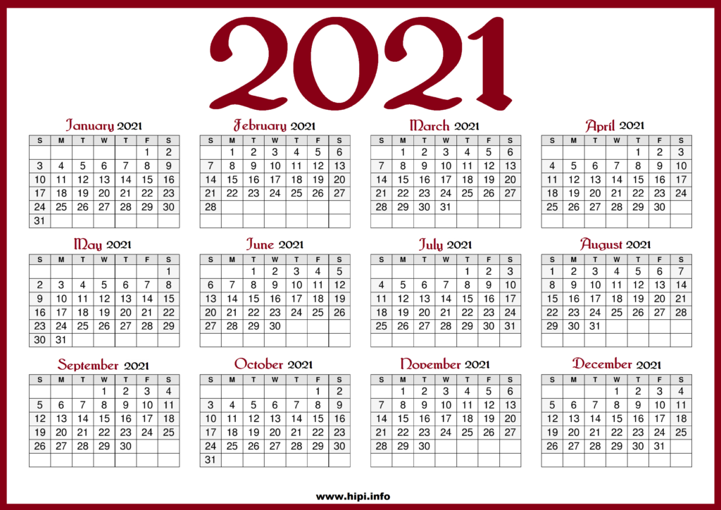 Printable 2021 Calendar with US Holidays - Red color ...