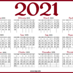 Printable 2021 Calendar with US Holidays - Red color