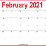2021 February Calendar Printable – Monthly Calendar
