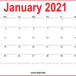 Monthly 2021 Calendars - Red, White