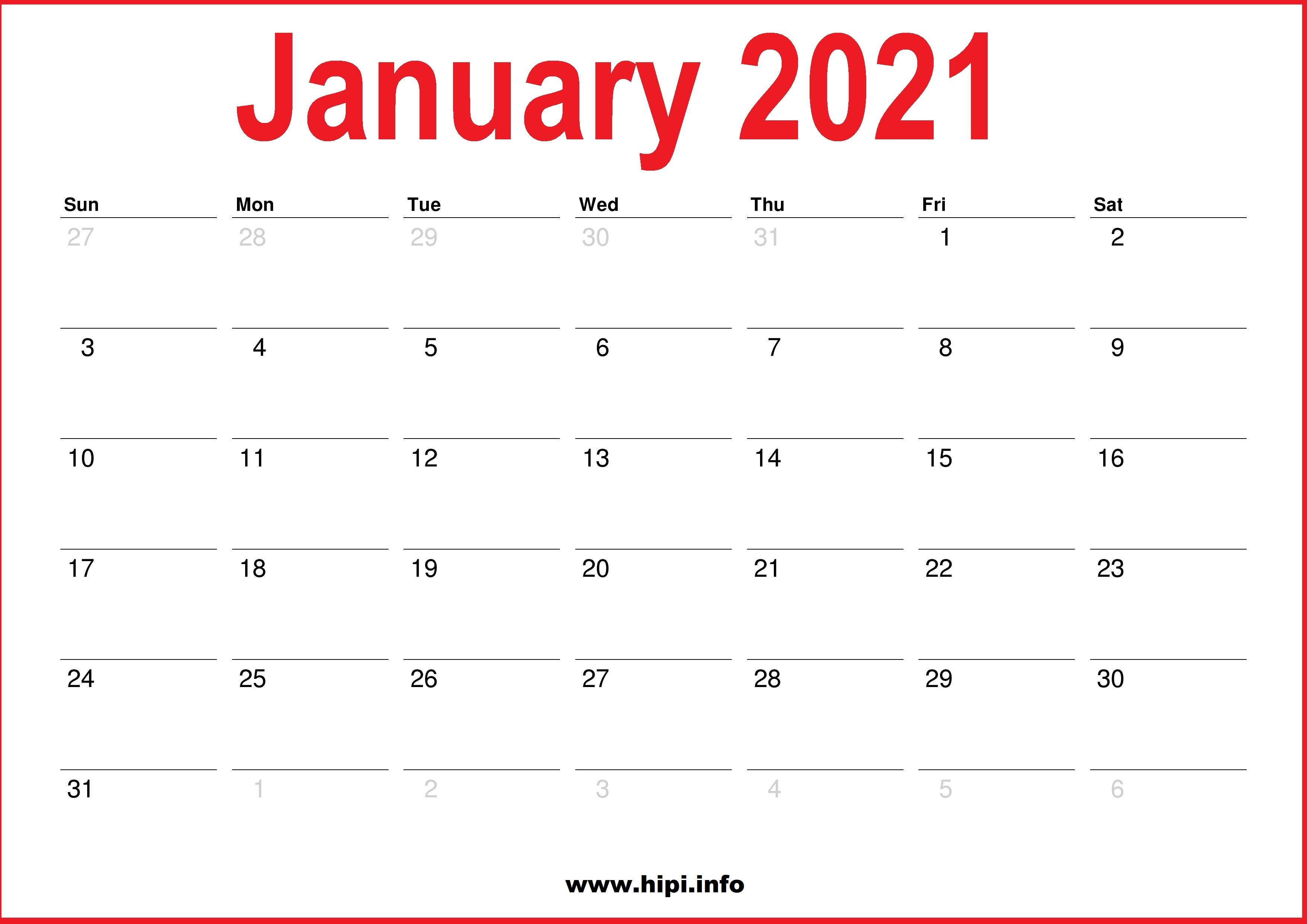2021 January Calendar Printable - Monthly Calendar - Hipi ...