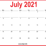 2021 July Calendar Printable – Monthly Calendar