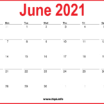 2021 June Calendar Printable – Monthly Calendar