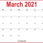 2021 March Calendar Printable – Monthly Calendar